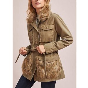 Anthropologie military jacket with fur trim